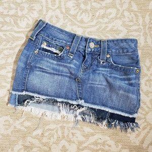 True Religion Distressed Denim Skirt